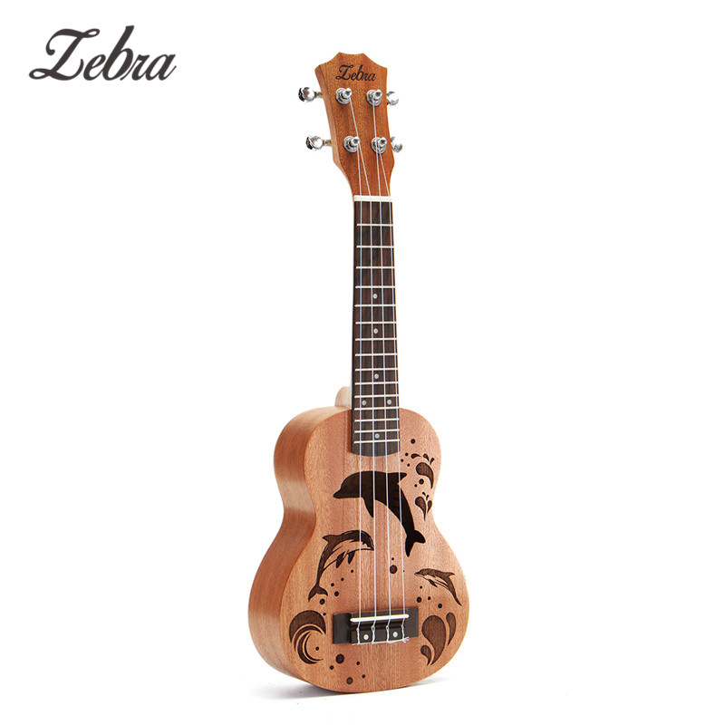 21 Inch 4 Nylon Strings Ukulele Sapele Dolphin Pattern Hawaii Ukelele Mini Guitar Soprano Rosewood Uke Music Instrument Gifts