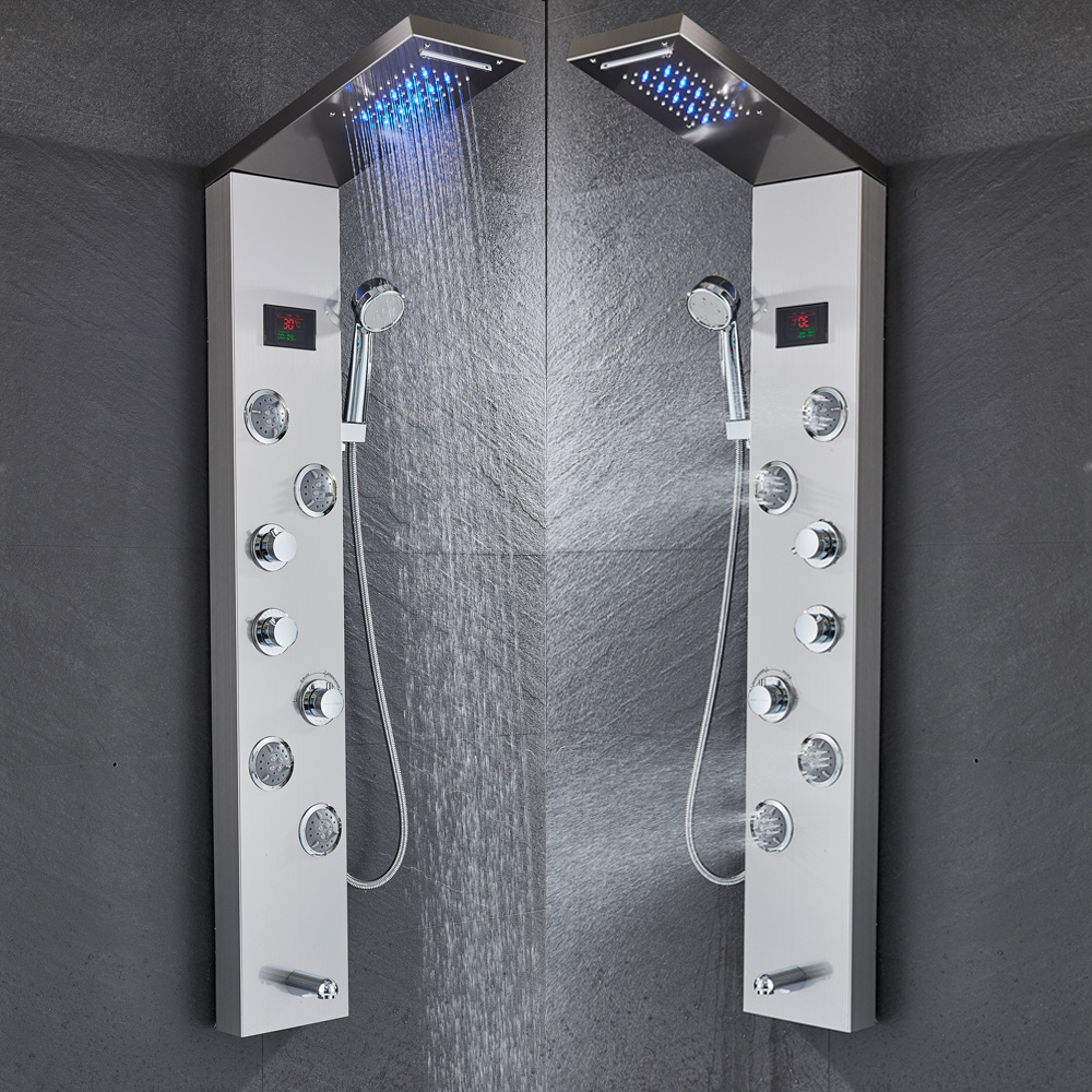 H2ba4ebc6f5604df3a7c5c7bfa7c89302w Newly Luxury Black/Brushed Bathroom Shower Faucet LED Shower Panel Column Bathtub Mixer Tap With Hand Shower Temperature Screen