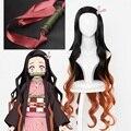 Парик для косплея Demon Slayer Kimetsu no Yaiba Kamado Nezuko, термостойкие синтетические волосы, парики + шапочка + бамбуковые реквизиты, уплотнительная палоч...