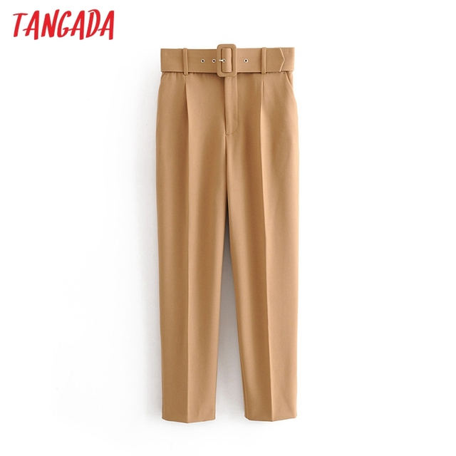 Tangada black suit pants woman high waist pants sashes pockets office ladies pants fashion middle aged pink yellow pants 6A22 4