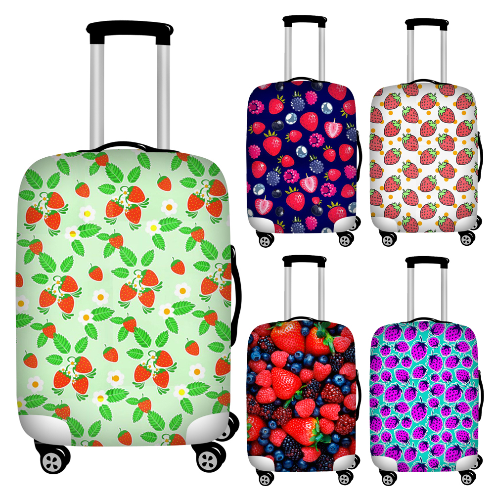 Twoheartsgirl Colorful Strawberry Print Luggage Protective Dust Cover Waterproof Elastic Suitcase Cover For 18''-32'' Trunk Case