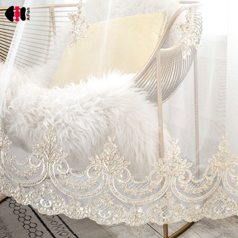 Luxury Embroidered Tulle Curtains for Living Room Floral Bottom Embroidery Elegant Romantic Bay Window Drapes zh059C