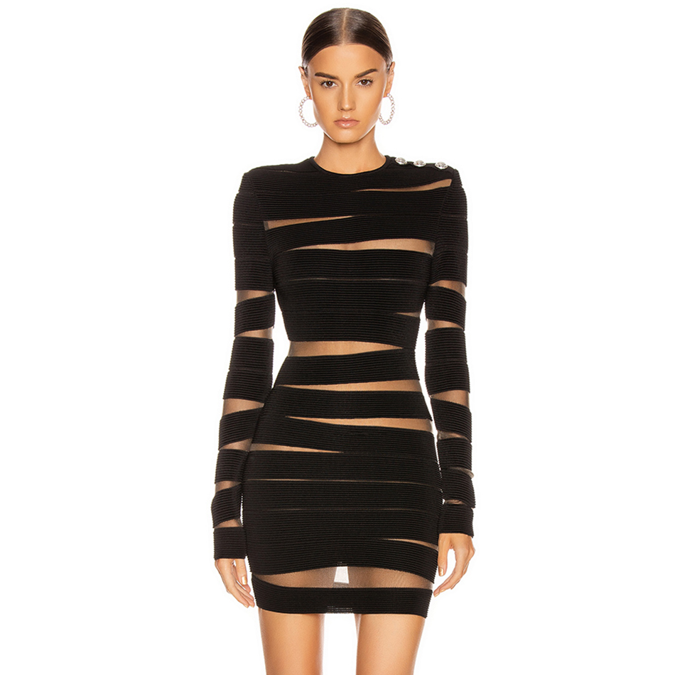 Adyce 2020 New Autumn Black Lace Bandage Dress Women Sexy Long Sleeve Hollow Out Club Mini Celebrity Evening Runway Party Dress