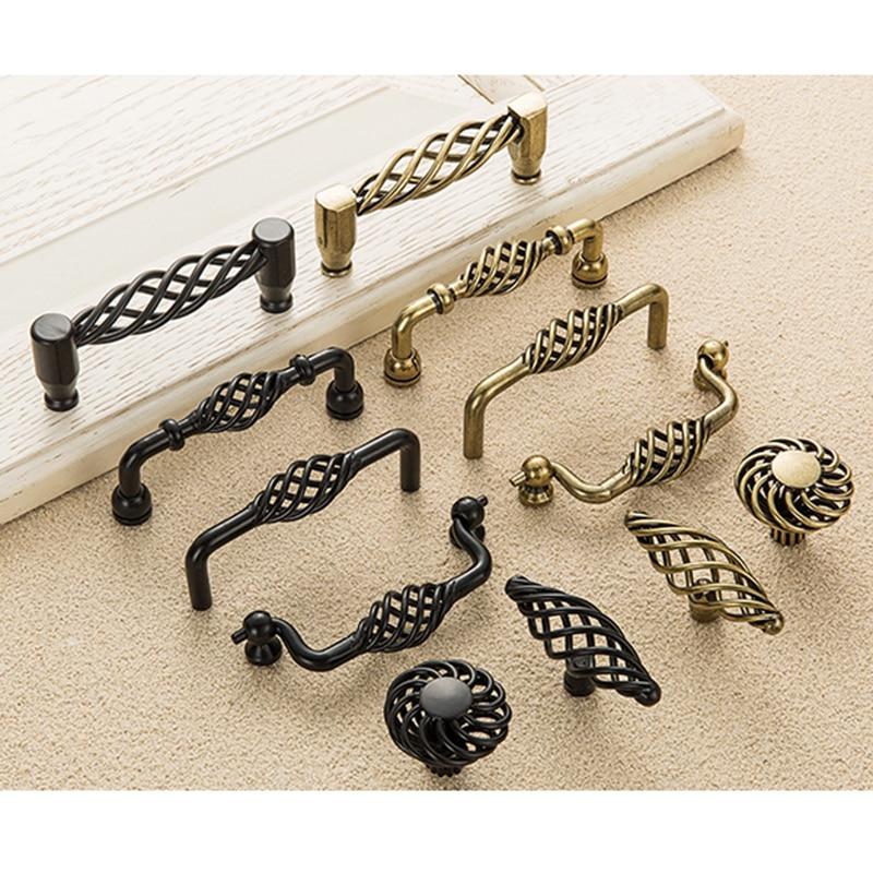 Винтаж старинный Бронзовый Шкаф ручки выдалбливают клетка ручки ящик шкаф дверная стяжка ручка для мебели