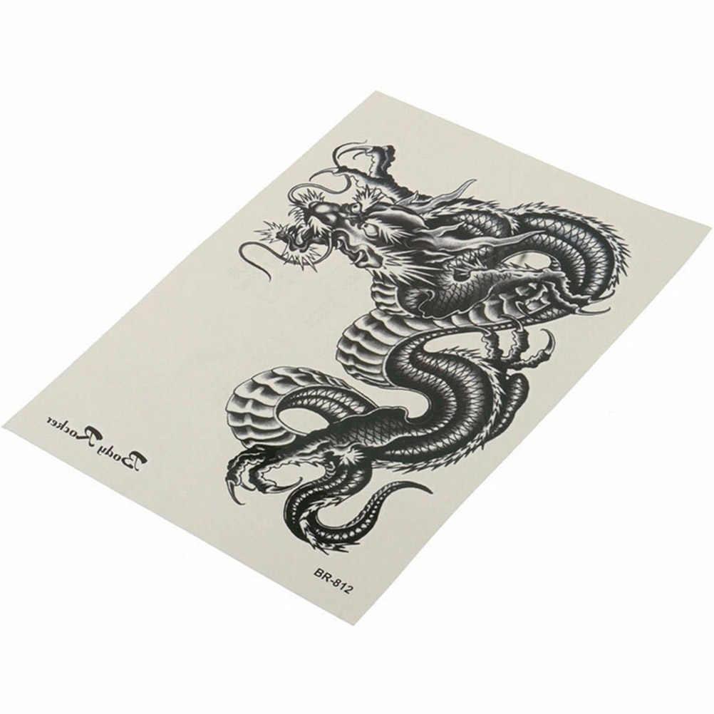 Tatuaje grande 3D Negro Dragón temporario removible resistente al agua brazo pierna adhesivo decorativo para el cuerpo