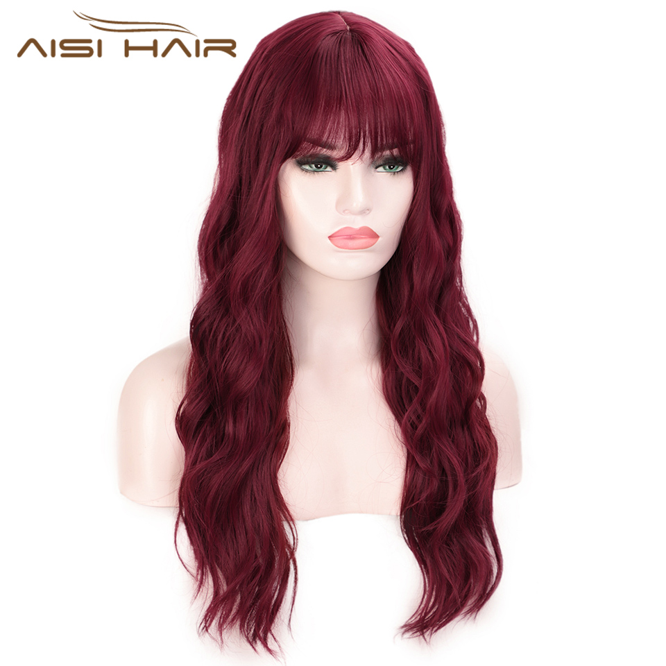 I's A Wig Water Wave Synthetic Wigs Red Long Wigs With Bangs For Women Cosplay Middle Part Brown Pink Balck Purple Wig