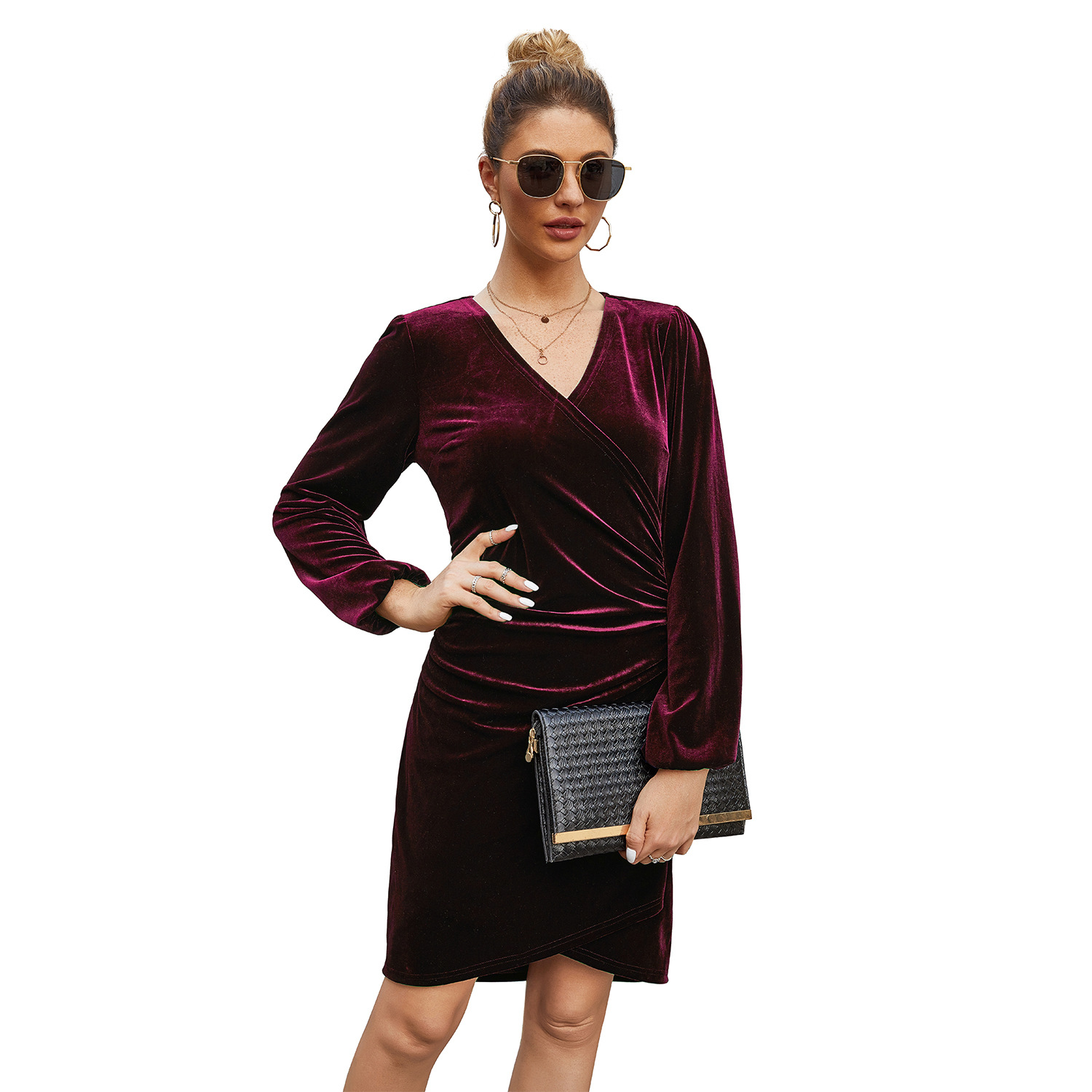 Big Offer #1569a - Women Dress Velvet Plus Size Dresses ...