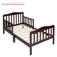 Crib Wooden Baby Toddler Bed Children Bedroom Furniture with Safety Guardrails Espresso