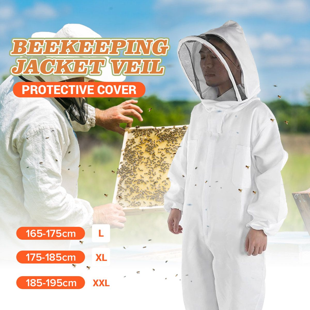 Cotton Hooded Beekeeping Suit Veil Hat Jacket Protective Coverall Full Body Cover Beekeepers Costume Apicultura Equipment 3 Size
