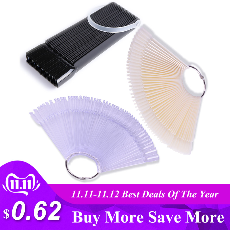 1Set False Nail Tips Nature Clear Black Fan Finger Full Card Nail Art Display Practice Acrylic UV Gel Polish Tool Manicure JI386-in False Nails from Beauty & Health