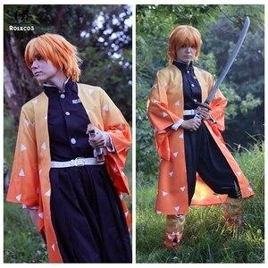 Image 4 - ROLECOS Аниме Костюм Kimetsu no Yaiba Косплей демона Slayer Agatsuma Zenitsu косплей костюм Мужчины кимоно Хэллоуин костюм