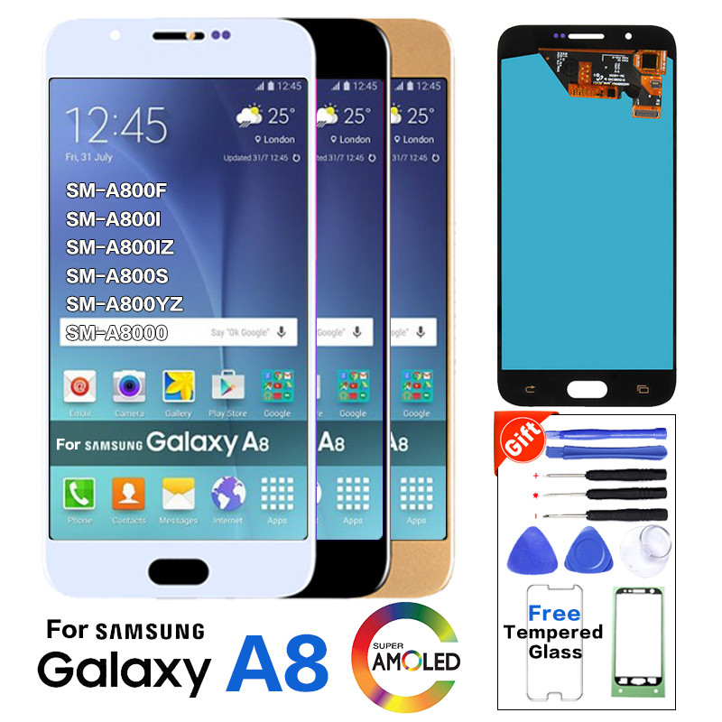 For <font><b>Samsung</b></font> Galaxy A8 A800 <font><b>A8000</b></font> A800F Super AMOLED Phone LCD Display Touch Digitizer Screen Assembly Tested before shipment image