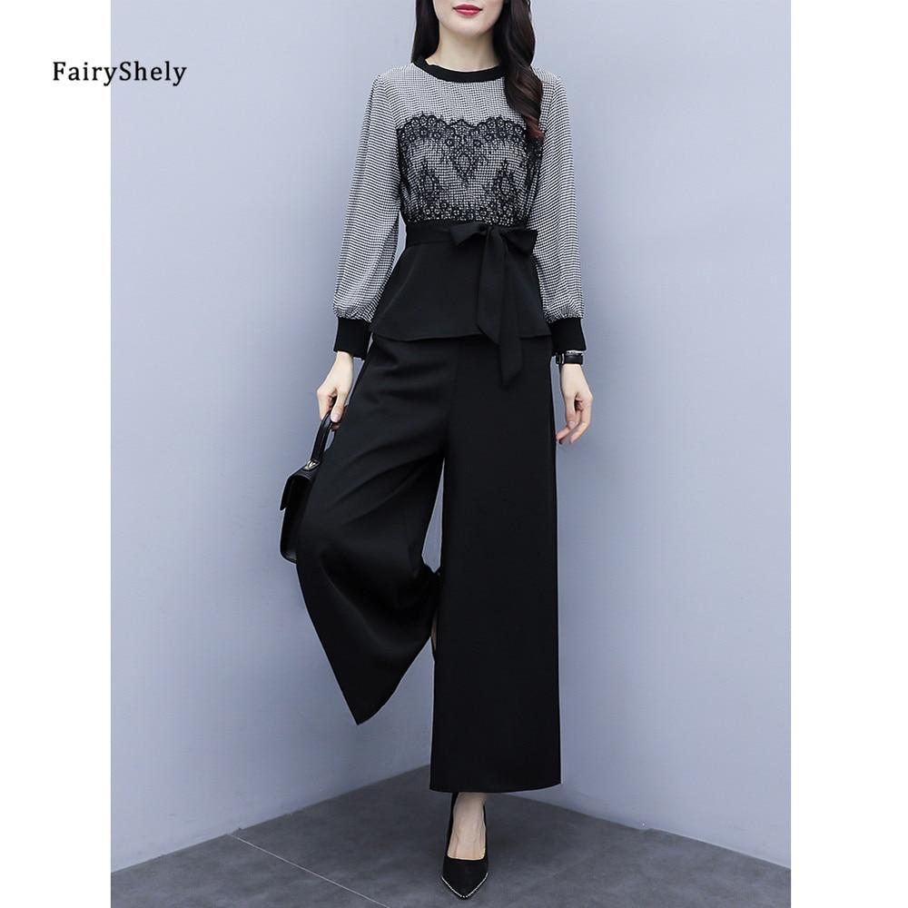 FairyShely uzun kollu T-shirt geniş bacak pantolon 2 adet Set kadın 2021 bahar dantel yay ekose üst Set kore ofis rahat kıyafetler