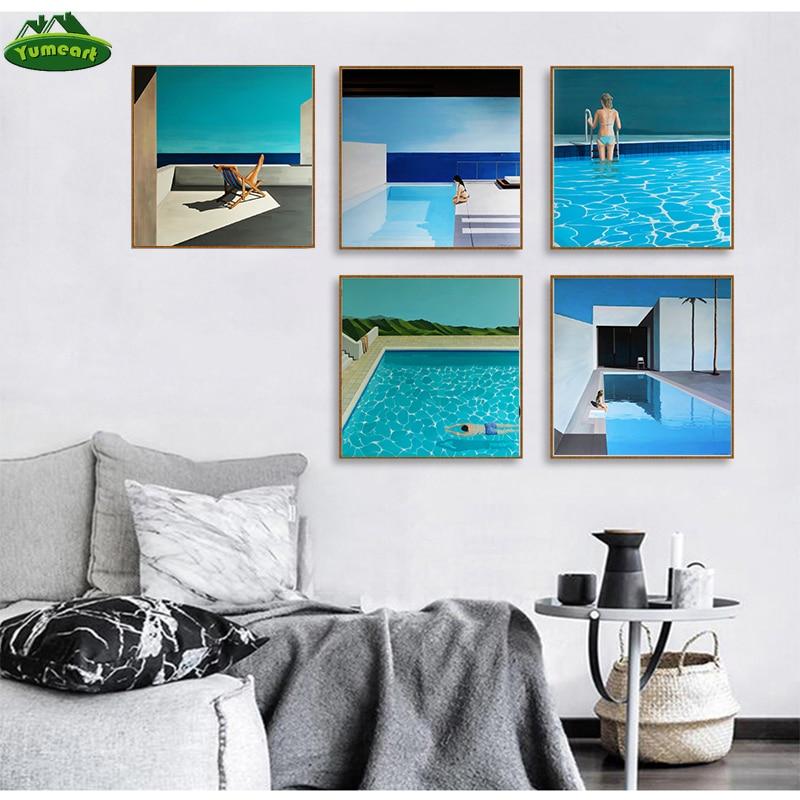 David Hockney Artist Bigger Splash Fresh With Blue Swimming Pool Home Decor Poster Print Famous Wall Canvas Art For Living Room