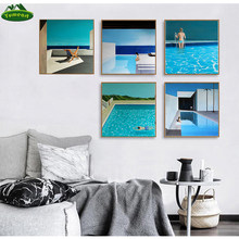 David Hockney Artist Bigger Splash Fresh with Blue Swimming Pool Home Decor Poster Print Famous Wall Canvas Art For Living Room(China)