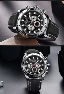 Image 5 - MEGIR הכרונוגרף Mens שעונים למעלה מותג יוקרה רצועת עור קוורץ גברים זכר שעון צבאי צבא ספורט תאריך שעון אריזת מתנה 2094