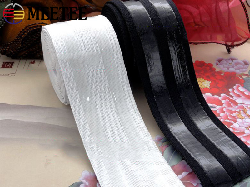 Meetee 2/4Meters 5cm Black White Nylon Polyester Non-slip Silicone Elastic Band DIY Clothes Sewing Pants Belt Stretch Band EB038
