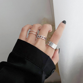 LATS Punk Metal Geometry Circular Punk Rings Set Opening Index Finger Accessories Buckle Joint Tail Ring for Women Jewelry Gifts 3