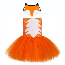 Girls Fox Clothing Cute Children Cartoon Crazy Animal Nick Pattern Dresses 14 Ages Kids Halloween Tutu Dress with Mask