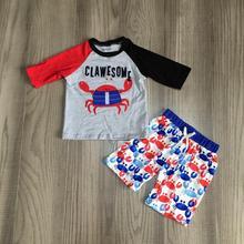 Новое поступление, летние хлопковые шорты для маленьких мальчиков Эластичный темно синий голубой динозавр, серый топ с принтом, комплект детской одежды