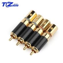 4PCS RCA Audio Jack Connector Audiophile Eutectic Carbon Fiber Pure Copper Speaker Plug DIY Solder Wire Connector Splice Adapter