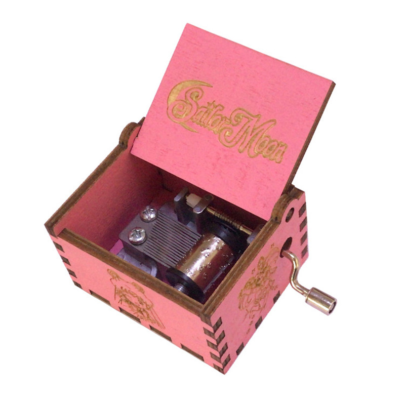 Anime Sailor Moon Cos Crystal Theme Hand-carved Wooden Craft Music Box Role Play