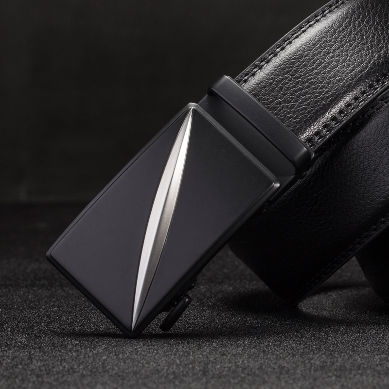Genuine Leather Mens ratchet belt Automatic buckle black belts for men automatic