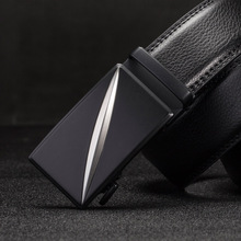 Genuine Leather Mens ratchet belt Automatic buckle black belts for men automatic