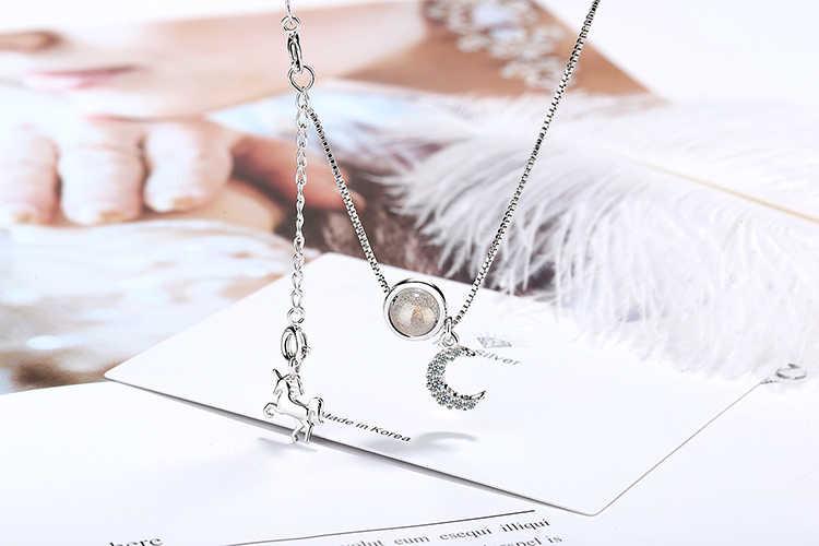 Chereda الحصان الفراولة كريستال حلية قلادة 925 الفضة القمر الإبداعية سلسلة المعلقات مجوهرات الزفاف وصيفه الشرف