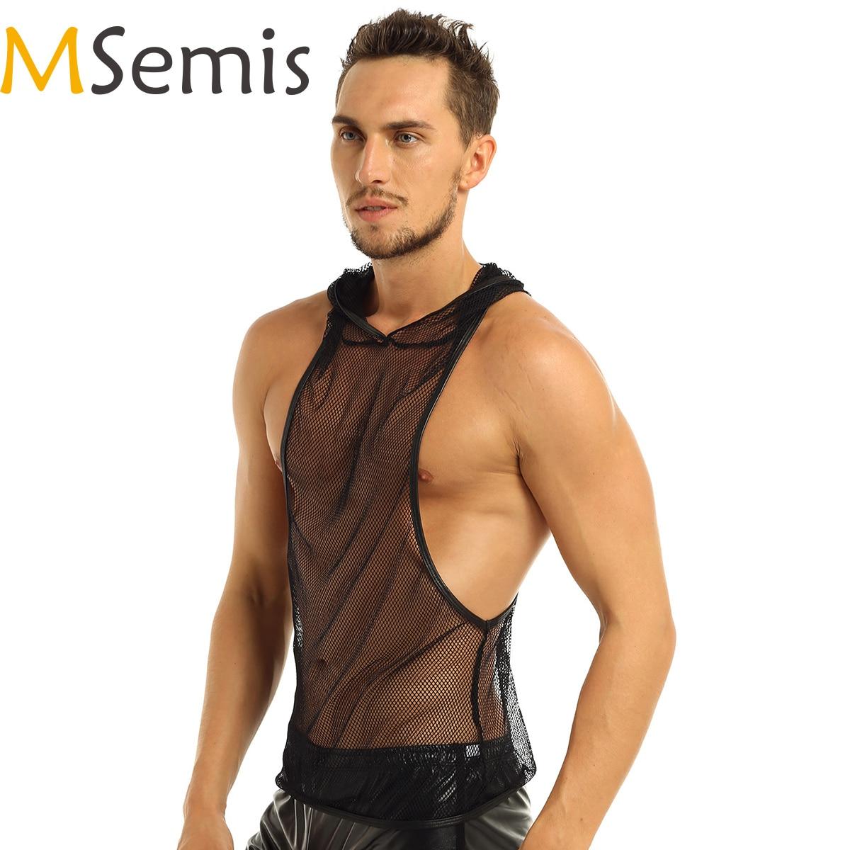 MSemis Mens Mesh Sheer Crop Top Wetlook Leather Muscle Tank Vest T-Shirt Undershirts Clubwear