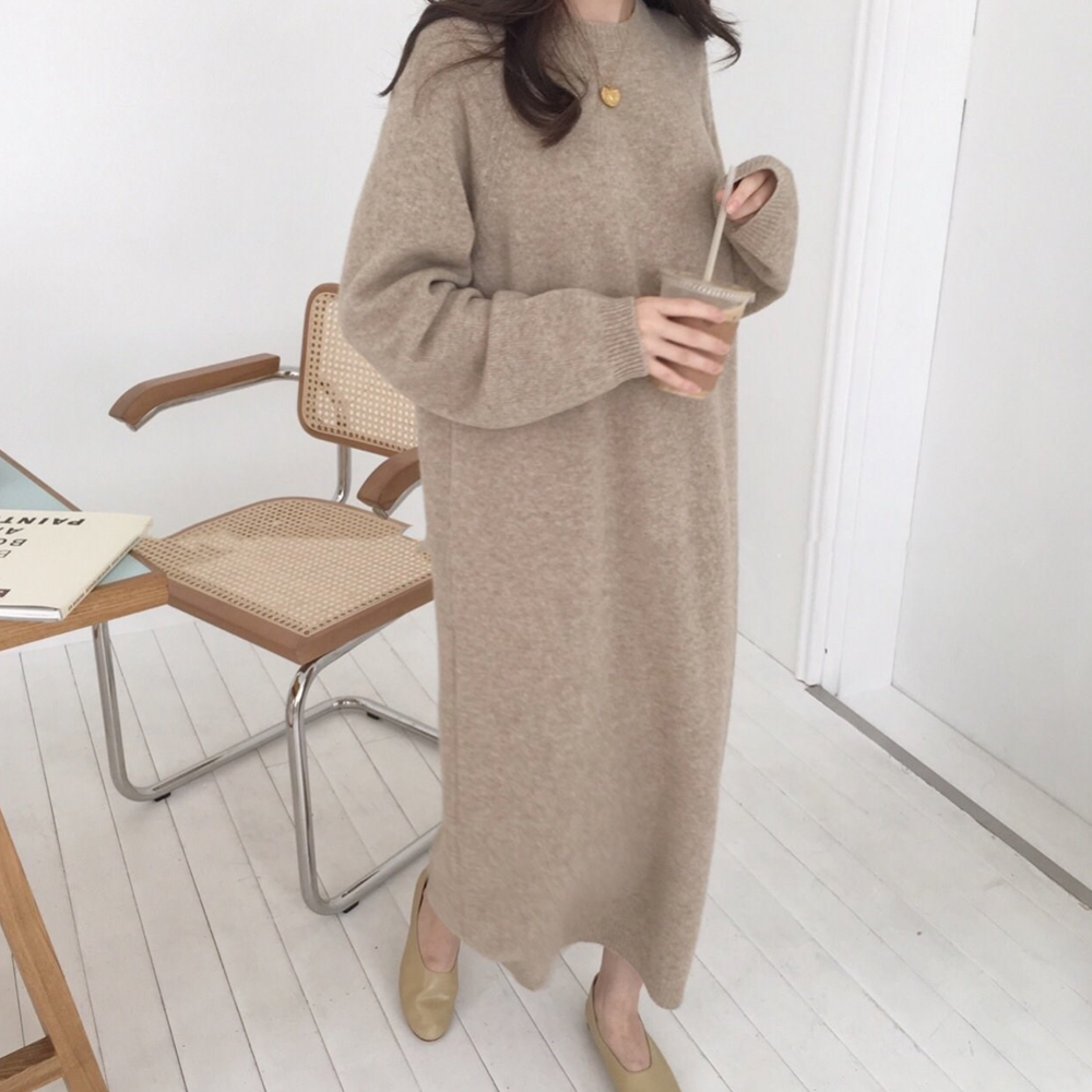 Sweater Women Dress Winter Knitted Warm Dress For Women Vestidos Long Sleeve Casual Office Lady Elegant Fashion Female Dresses