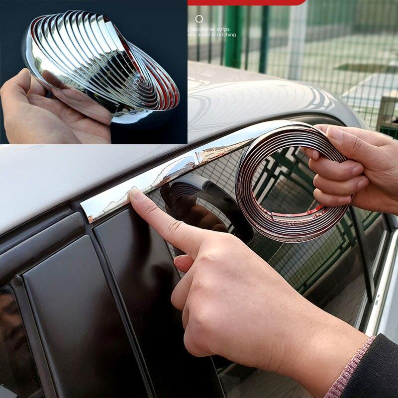 Chrome Molding Trimประตูรถสติกเกอร์แถบกันชนรถAnti-CollisionเทปประตูEdge Guard Plate Brightสติกเกอร์