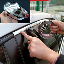 цена на Chrome Moulding Trim Car Door Protector Stickers Strip Bumper Grill Car Anti-Collision Tape Door Edge Guard Plate Bright Sticker