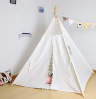Teepee Tent for Children Play House White Lace Cotton Mom And Baby Toy Newborns Gift a Generation of Fat