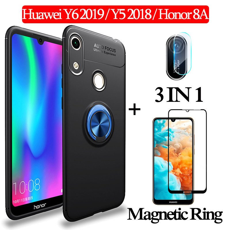3-in-1 Glass + Magnetic Silicone <font><b>Case</b></font> for <font><b>Huawei</b></font> Y6 2019 <font><b>Y5</b></font> <font><b>2018</b></font> Soft <font><b>Case</b></font> Honor 8A Full Cover <font><b>huawei</b></font> y6 2019 magnetic ring <font><b>Case</b></font> image