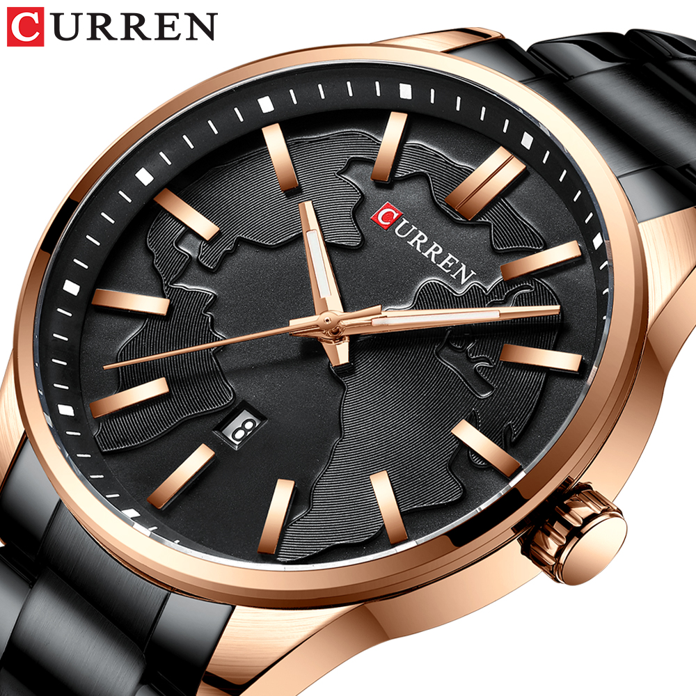 CURREN Fashion Business Watches Men Creative Design Dial Quartz Watch Stainless Steel Band Wristwatch Relogio Masculino