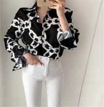 Женские черные блузки в Корейском стиле с принтом цепи рубашка
