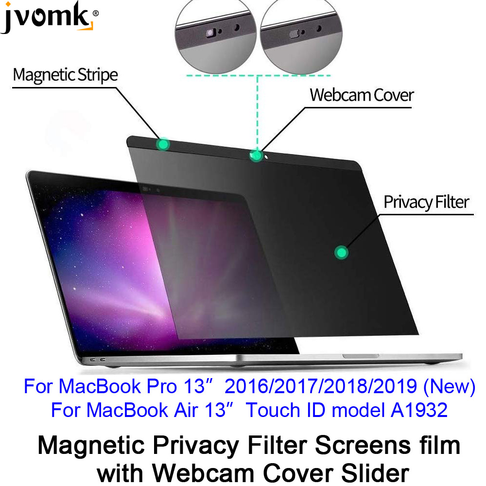 Magnetic Privacy Filter Screens Film With Webcam Cover Slider For 2016/2017/2018/2019 New MacBook Pro 13, Touch ID Air 13