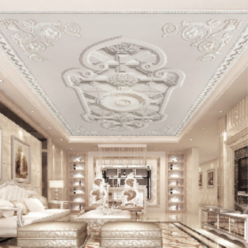 European custom wallpaper carved plaster ceiling imitation modern minimalist bedroom ceiling 3D stereo roof wallpaper picture