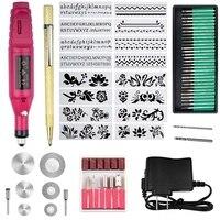 Kit de ferramentas de gravação de 70 peças  multi função caneta elétrica gravador diy ferramenta giratória para jóias de vidro de madeira cerâmica plástico com|Roteadores de madeira| |  -