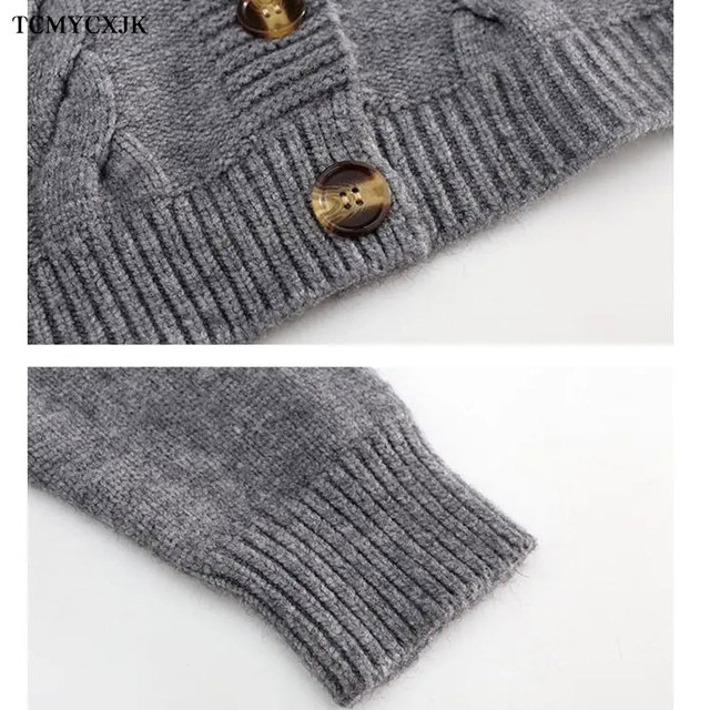 Short High Waist Slim Cable V-neck Sweater Women Spring And Autumn 2021 New Single-breasted Knitted Cardigan Twist Small Jackets 6