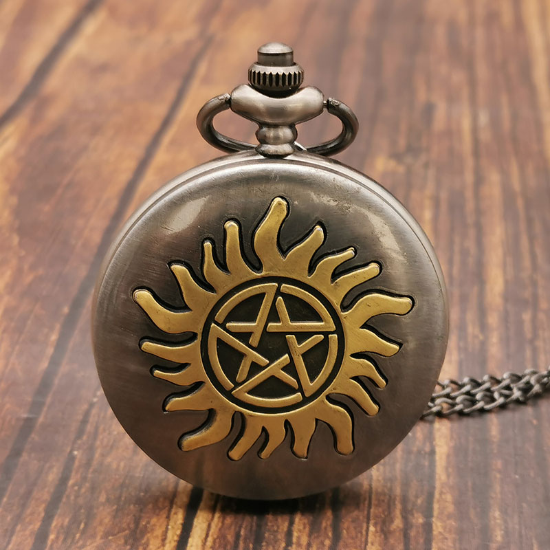 Creative Five Corner Star Design Pocket Watch Men Bronze Retro Necklace Watch With Sweater Chain Men Women Pendant Watches Mens