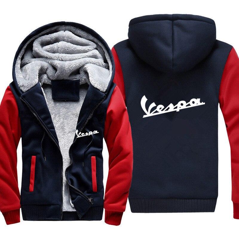 2019 Free Shipping Men Casual Wool Liner Fleece Vespa Scooter Sweatshirts Hoody Pullover Vespa Hoodies Jacket Winter Zip Up Hood