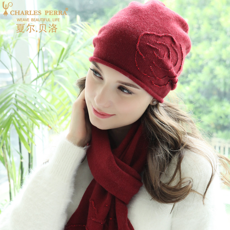 Charles Perra Winter Hats Female Wool Hat Scarf Two-Piece Sets High Temperature Embossed Rose Design Women's Knitted Hat 8A20