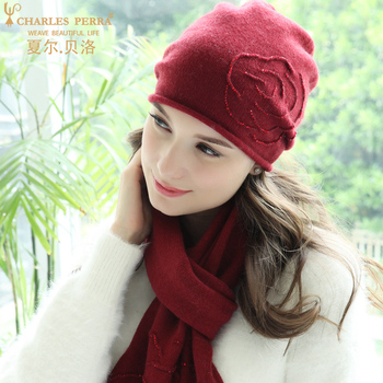 Charles Perra Winter Hats Female Wool Hat Scarf Two-Piece Sets High Temperature Embossed Rose Design Women's Knitted Hat 8A20 charles perra new women winter hats scarves two piece sets embroidery casual elegant lady single layer knitted hat 3322