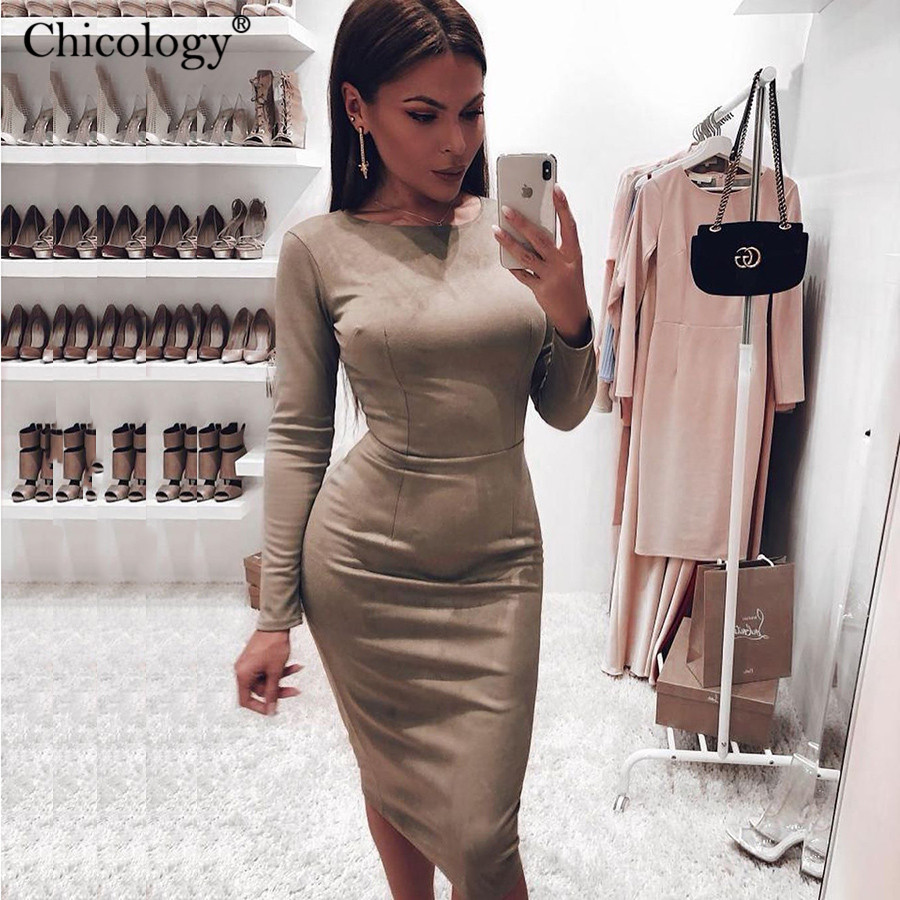 Chicology Suede Slim Fit Sexy Elegant Lady Midi Dress 2019 Autumn Winter Women Long Sleeve Bodycon Party Office Female Clothes