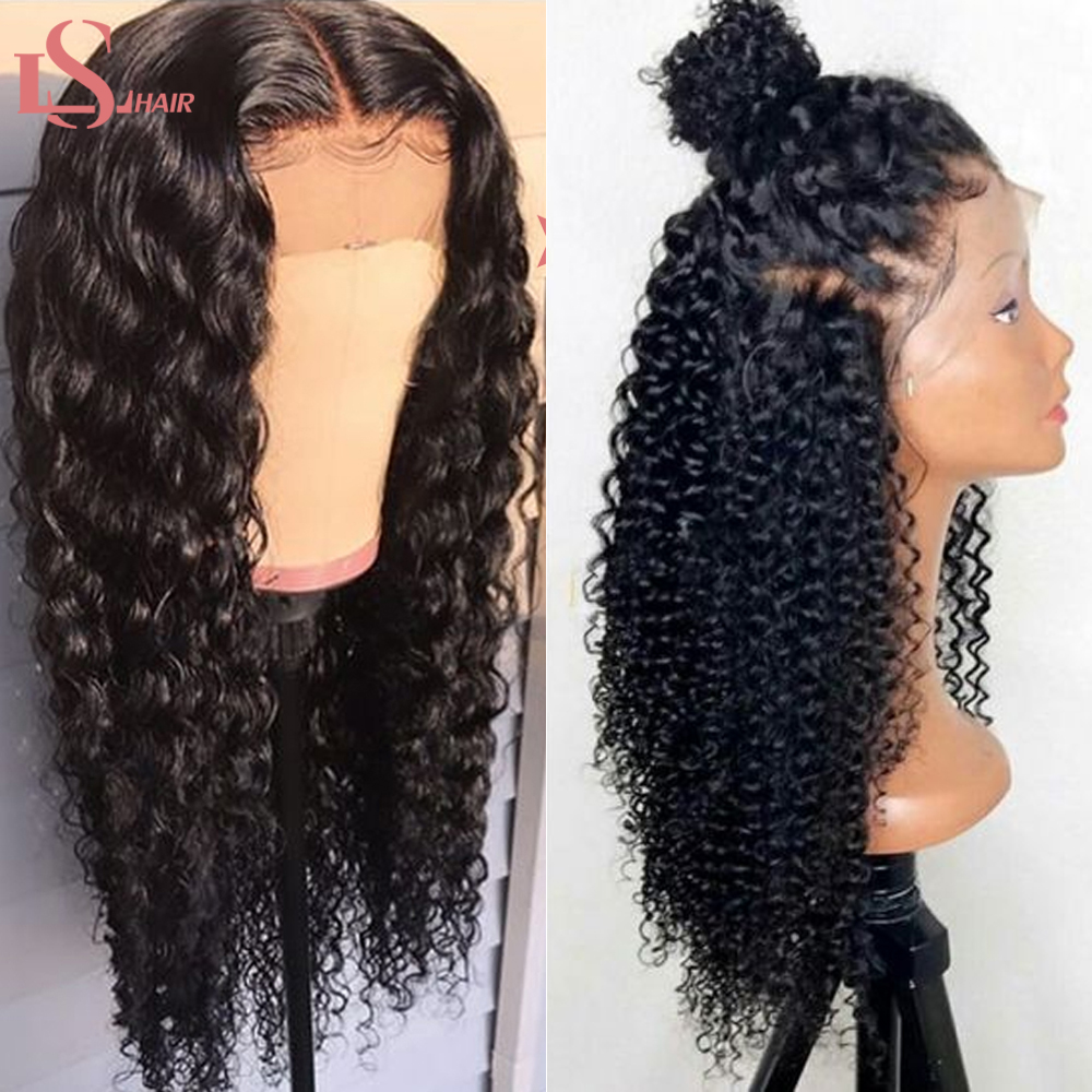 LS 13x4 Lace Front Human Hair Wigs Brazilian Deep Wave Human Hair Lace Front Wig With Pre Plucked 150% Density Remy Hair Wig