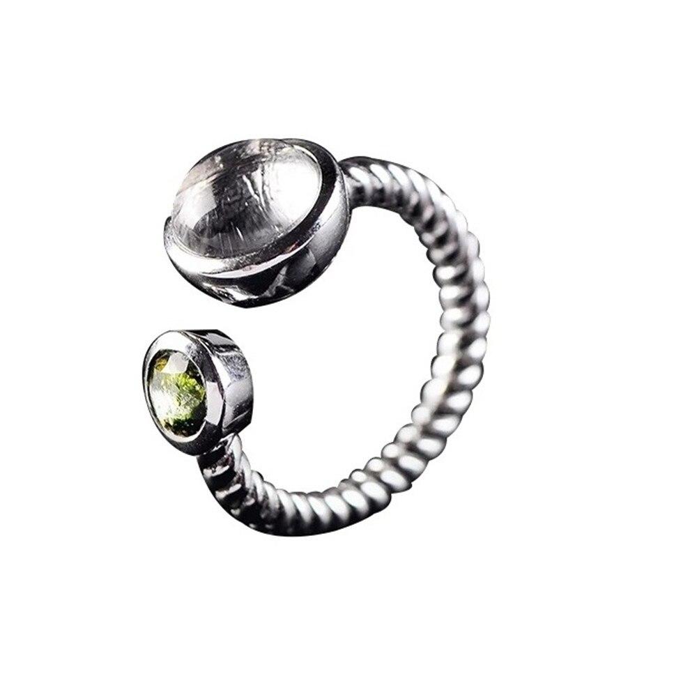 Véritable naturel 10mm Gibeon fer météorite anneau pour femmes hommes 6mm Moldvite mode bijoux argent rond réglable anneau AAAA