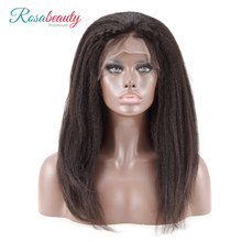 [Rosabeauty] OneCut Hair Kinky Straight 8-28inch 13x6 Human Remy Hair Lace Frontal Lace Wig With High Density 250% Thick End(China)