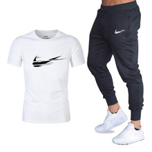 Brand 2019 new mens short-sleeved casual T-shirt suit fashion gradient printing round neck cotton summer sports